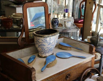 Antique bright blue enamel mirror and brushes / enamel mirror and brushes / bright blue enamel mirror and brushes / vanity set mirror brush