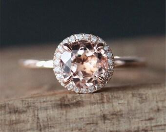 Prongs Promise Ring VS 7mm Round Cut Morganite Ring Plain Ring Band Stackable Ring 14K Rose Gold Morganite Engagement Ring Anniversary Ring