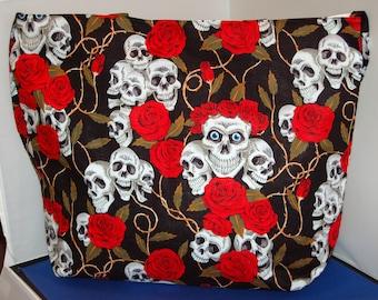 Women's Handcrafted Handmade Tote Bag Black Skull & Roses Shoulder Bag
