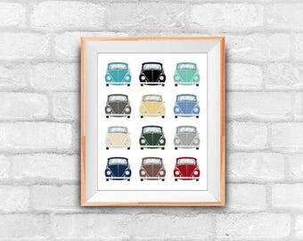 beetle pattern, wall decor, digital art, instant download, car illustration, printable art