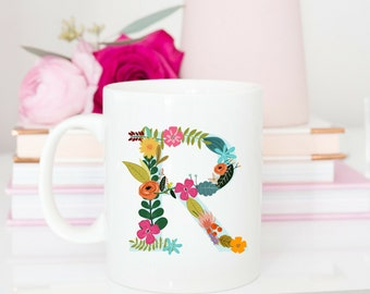 Custom Floral Initial Mug | Rustic Boho Monogram Coffee Cup | Personalized Mug |Office Work Coworker Gift | flor11