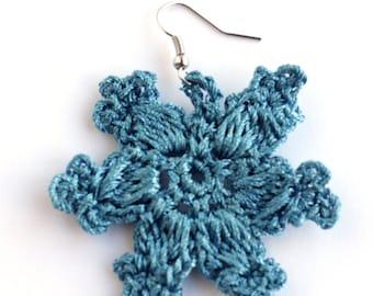 Blue Sparkle Gypsy Earrings, Henna Inspired Lace Filigree Jewelry, Funky Earrings, Boho Blue Jewelry, Made in NC