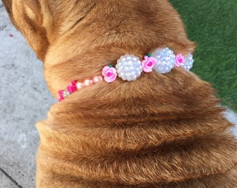 Pink Pearl Dog Necklace