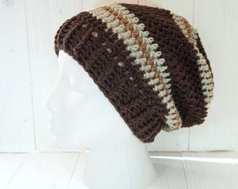 Slouchy beanie, Beanie, Hat, Beanie hat, Slouchy hat, Womens slouchy beanie, Mens slouchy beanie,  Brown beanie hat, Ready to ship,