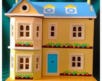 Vintage Wooden Dolls House. Wooden Doll House. Vintage Dolls House. Georgian Style House. Dolls House. Vintage Dolls House. Unique Toy.