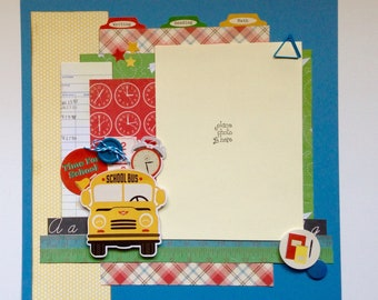 Premade Scrapbook Layout, Two pages, 12 x 12, School