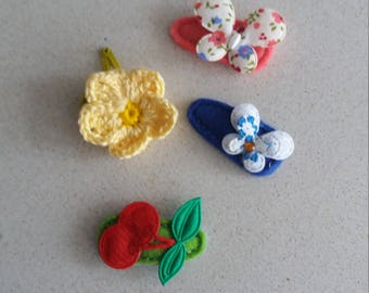 Clips for fine hair of the baby, 4 units, in felt and crochet