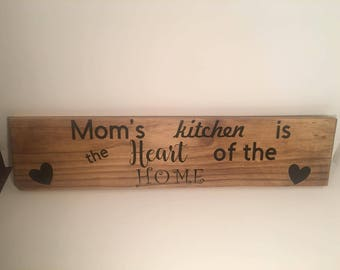 Moms Kitchen, wooden sign,home décor, wood décor, vinyl sign,mother's day gift,gift for mom,