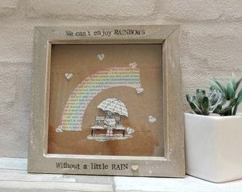 Rainbow frame, Frame Art, Papercraft frame, Rainbow Gifts, Quote Frame Art, Gift for her, Gift for him, Couple gift, Family gift, Home Decor