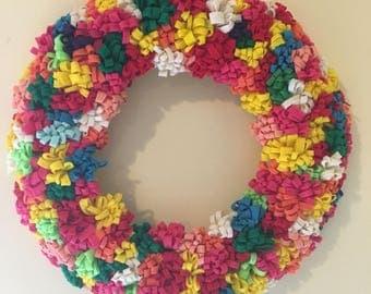"""16"""" rainbow felt wreath"""
