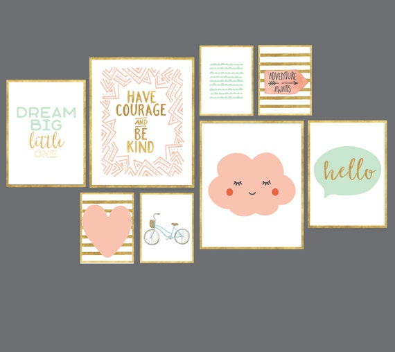 Pink And Gold Girls Room Gallery Wall Art Print Set Of 8