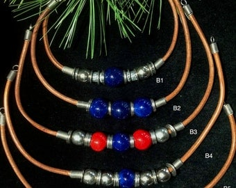 Beautiful Leather Beaded Necklaces Blue