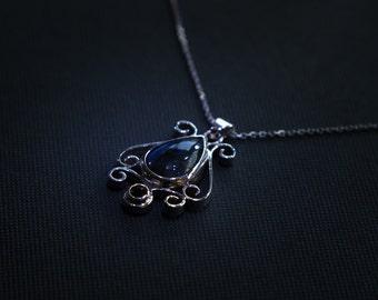 Pendant in Silver 925 Labradorite and Rhodolite Garnet