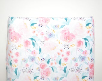 Floral Changing Pad Cover, Baby Girl Changing Pad Cover, Changing Pad Cover, Floral Baby Bedding, Baby Girl Bedding, Baby Girl Nursery