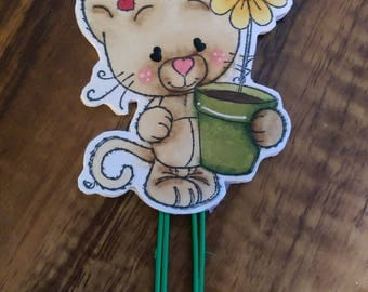 Kitty with Flower Paper Clip for Planners
