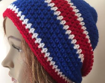 NY giants team hat, crochet slouchy team hat