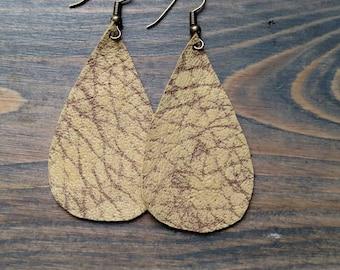 SALE - Yellow Textured Teardrop Earrings - Leather Teardrop Earrings - Yellow Leather Earrings