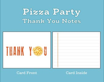 Pizza Party Thank You Note (A2 flat card, 4.25x5.5)