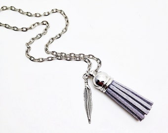Tassel | ESSENTIAL OIL | Diffuser Necklace | 18 Color Options | Silver Chain | 3 Lengths Available | Adult/Children