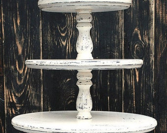 "Largest 5-Tier tower hold (22/20/18/16/14"") Custom Shabby White Cupcake Stand Personalized Shabby Ivore Cupcake Stand Wedding Cupcake Stand"