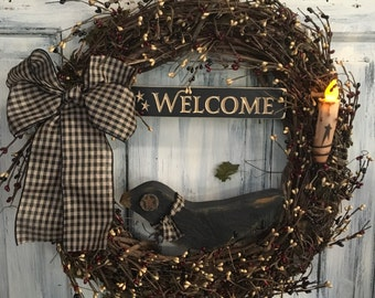"""18"""" primitive country crow welcome grapevine wreath w/candle"""