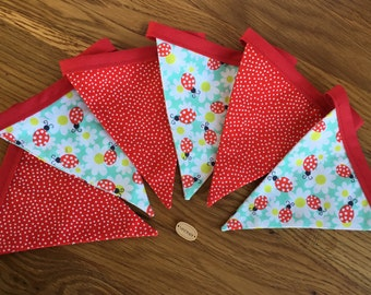 Ladybird bunting,Fabric bunting,Bunting,cotton bunting,Red spotted bunting,Spring bunting,daisy bunting,lady bug bunting