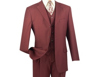 Classic-fit men's suit 3 piece suit 3 bottons solid monroe suits new with tag