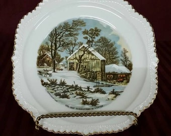 "Vintage Currier and Ives ""The Old Homestead In Winter"" plate. Perfect condition."