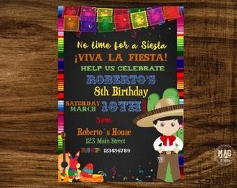 Mexican Invitation - Mexican Party Invitation - Fiesta Invitation - Fiesta Birthday Invitation. Digital File Preguntar