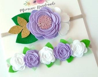 Baby headband set, Baby Headband, Baby Girl Headband, Girls Headband, Baby Felt Flower Headband, Felt flower Violet White headband
