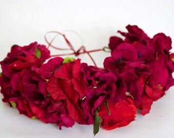 Handmade burgundy hydrangea ukrainian bridal everyday flower crown