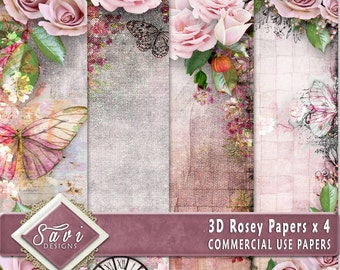 CU Commercial Use Background Papers set of 4 for Digital Scrapbooking or Craft projects ROSEY, 3D Papers, Designer Stock Papers
