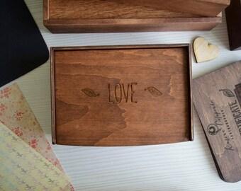 "Wood photo box, Wedding Memory, photographers usb box Wood Photo Box 4,3""x6,3"" (11x16 cm)"