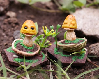 Figure of Elf yellow handmade, fungus fungus yellow Goblin from polymer clay, decoration, Art figure doll ooak