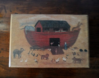 Vintage Rectangle Wood Box Cover Painted with Scene of Noah and The Ark     932