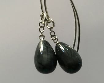 Grey stone drop earrings/Grey stone drops/grey stone dangles/Sterling silver/Sterling and stone earrings/earrings/grey/gray/stone