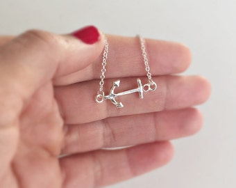 Anchor necklace in silver, Anchor Love, Ahoi, necklace gift, anchor chain, Anchor LOVE necklace