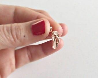 Shoe Earrings rose gold, flip-flop earrings rose gold