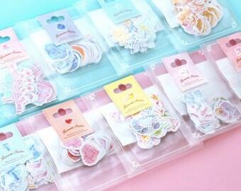 Pastel hand drawn stickers cute kawaii hearts cakes birds flowers