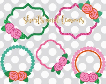 Flower svg, Flower monogram svg, rose Floral Frame svg, Flower Monogram svg, DXF, EPS, PNG, Rose svg, Floral Wreath svg, shortsandlemons
