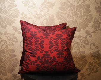 Square Handmade Red and Burgundy Damask Decorative Pillows 16 inches by 16 inches Accent Pillow