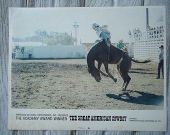 1974 American Cowboy Movie Lobby card - The Great American Cowboy poster - Vintage Cowboy movie poster - Vintage movie Lobby card - Cowboy