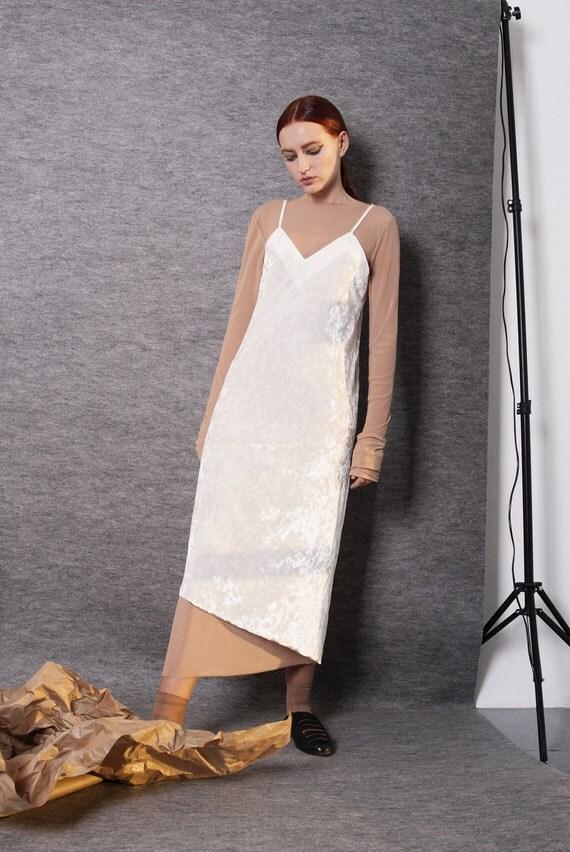CREAM VELVET slip DRESS