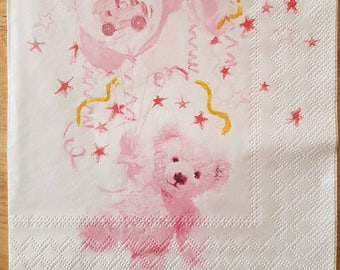 Set of 4 Pink Teddy Bear With Balloon Square Paper Lunch Napkins Decoupage Crafts Collage Scrapbooking #084