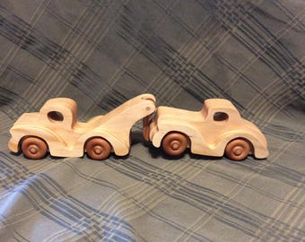 Tow truck, vehicles, wooden toys, handmade toys