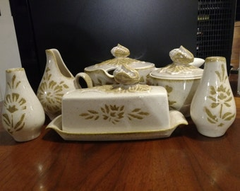 Red Wing Pottery 1950's MID Century Modern Gravy Boat, Creamer, Sugar, Butter Dish, and Salt & Pepper - Damask Pattern