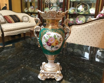 Antique (c. 1850) Old Paris Porcelain Vase Floral