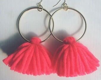 Hot Coral Tassel Hoop Earrings