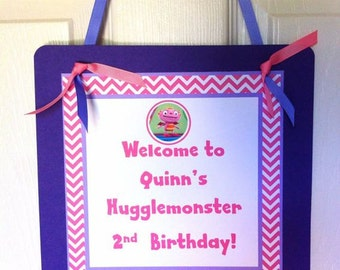 Girl Hugglemonster Welcome Door Sign