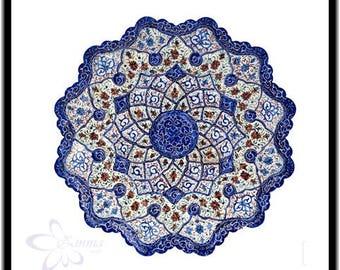 Persian Decorative Enameled Copper plate